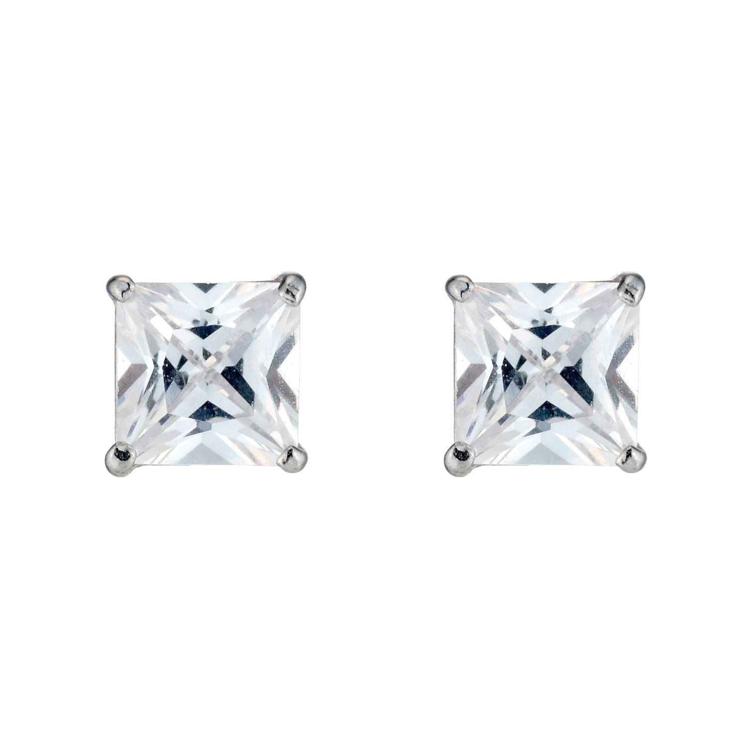 9ct White Gold Cubic Zirconia 4mm Square Stud Earrings - Product number 3416364