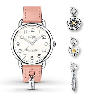 Coach Ladies' Stainless Steel Charm and Watch Gift Set - Product number 3417891