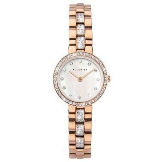 Accurist Ladies' Crystal Rose Gold Tone Bracelet Watch - Product number 3418871