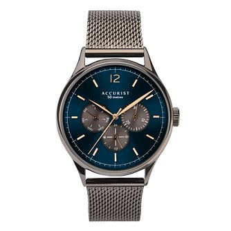 Accurist Men's Gun Metal Stainless Steel Mesh Bracelet Watch - Product number 3418928