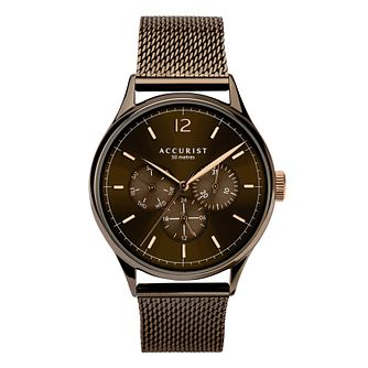 Accurist Men's Brown Stainless Steel Mesh Bracelet Watch - Product number 3418936