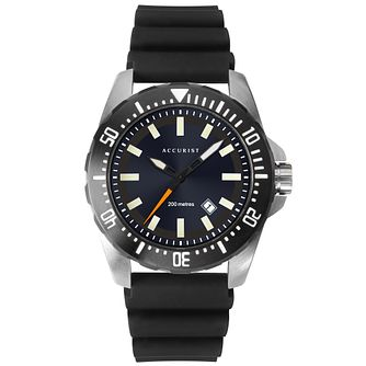 Accurist Divers Style Men's Black Silicone Strap Watch - Product number 3419045