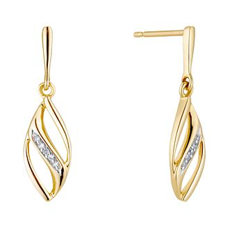9ct Yellow Gold Diamond Fancy Drop Earrings - Product number 3420310