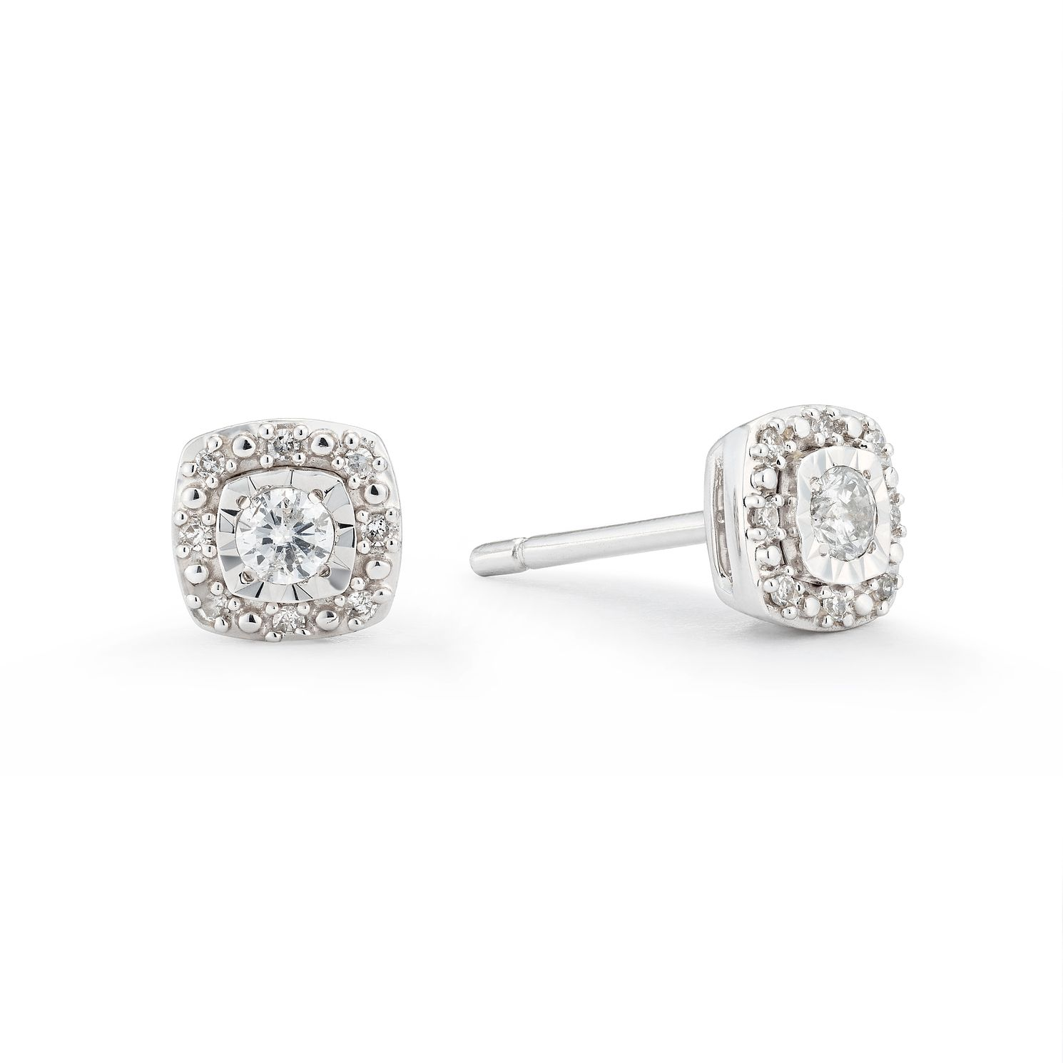 9ct White Gold 0.15ct Diamond Multi-Stone Square Earrings - Product number 3420337