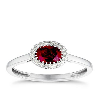9ct White Gold Ruby & Diamond Halo Ring - Product number 3420388