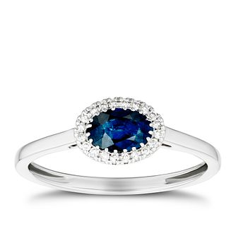 9ct White Gold Sapphire & Diamond Halo Ring - Product number 3420590