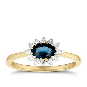 9ct Yellow Gold Sapphire & 0.15ct Diamond Halo Ring - Product number 3421244