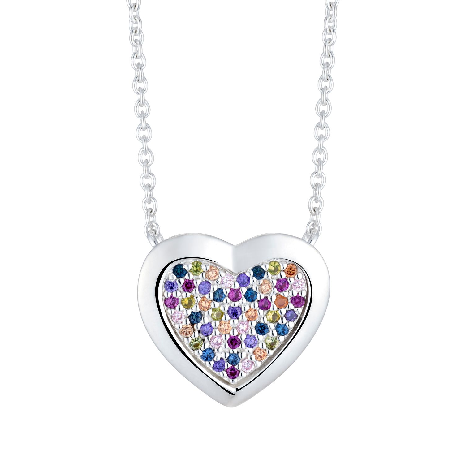 Silver Multicoloured Cubic Zirconia Heart Pendant - Product number 3424022