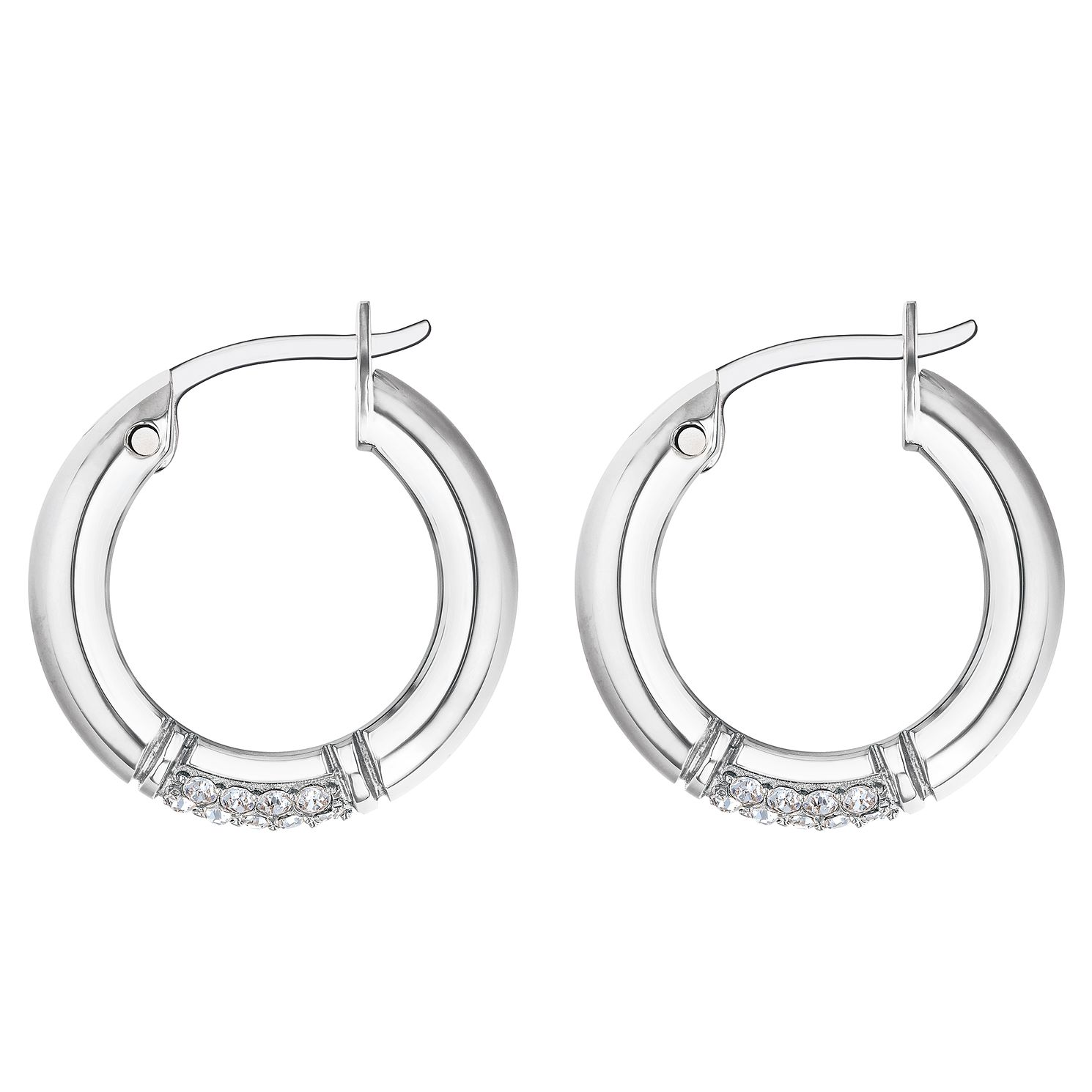 Tommy Hilfiger Silver Tone Crystal Hoop Earrings - Product number 3424197