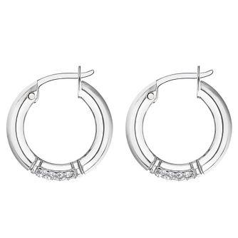 6b2ca7dde Tommy Hilfiger Silver Tone Crystal Hoop Earrings - Product number 3424197