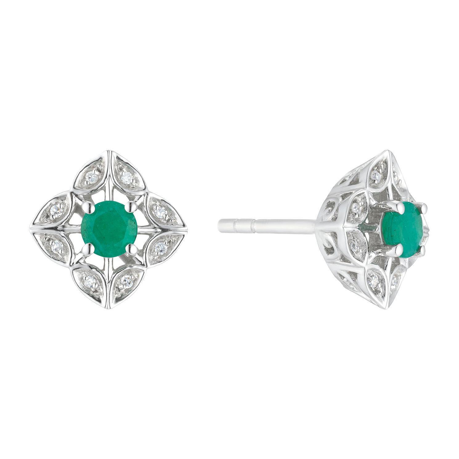 Sterling Silver Flower Emerald & Diamond Stud Earrings - Product number 3424847