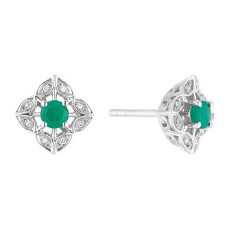 Sterling Silver Emerald & Diamond Flower Stud Earrings - Product number 3424847