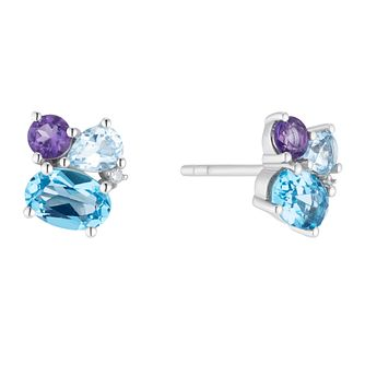 Sterling Silver Fancy Multistone Topaz Diamond Stud Earrings - Product number 3424855