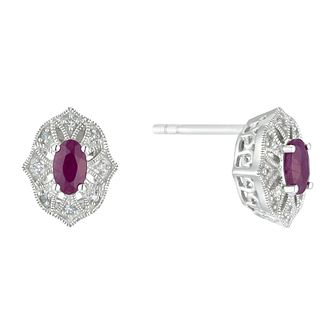 Sterling Silver Ruby & Diamond Stud Earrings - Product number 3424863