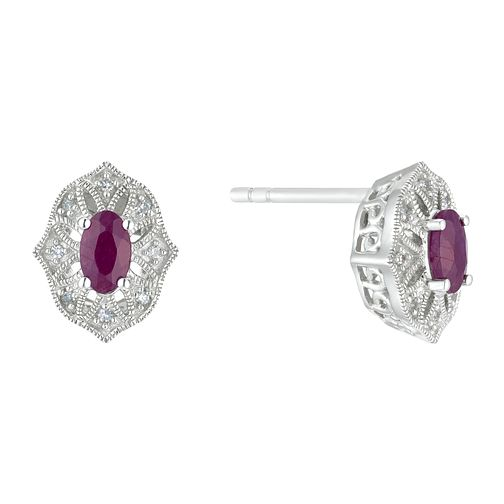 Sterling Silver Fancy Ruby & Diamond Stud Earrings - Product number 3424863