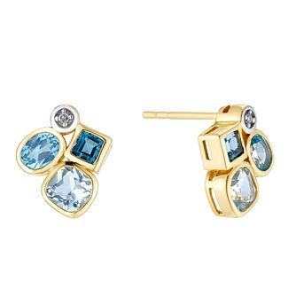 9ct Yellow Gold Fancy Multistone Topaz Diamond Stud Earrings - Product number 3424898