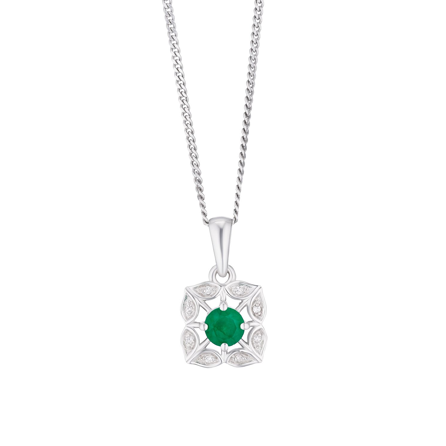Silver Emerald & Diamond Flower Pendant - Product number 3425002