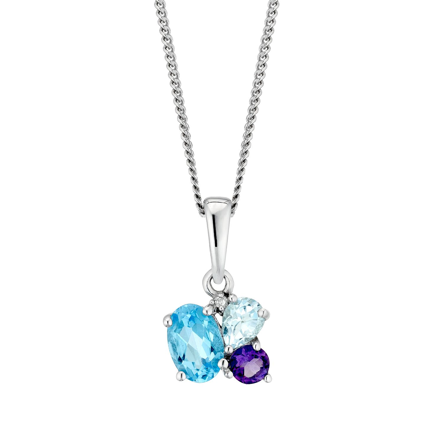 Sterling Silver Fancy Multistone Diamond Pendant - Product number 3425010