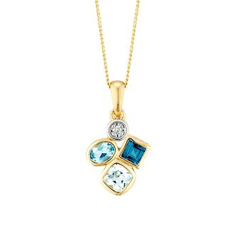 9ct Yellow Gold Fancy Multistone Topaz & Diamond Pendant - Product number 3425037