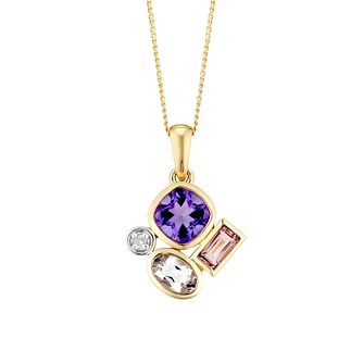 9ct Yellow Gold Fancy Multistone Diamond Pendant - Product number 3425045