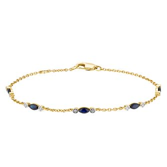 9ct Yellow Gold Marquise Sapphire & Diamond Bracelet - Product number 3425053