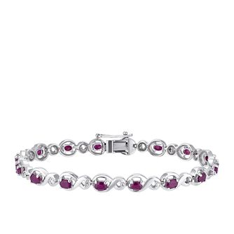Sterling Silver Ruby & Diamond Figure of 8 Bracelet - Product number 3425088