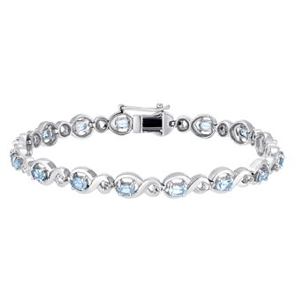 Sterling Silver Blue Topaz & Diamond Figure of 8 Bracelet - Product number 3425096