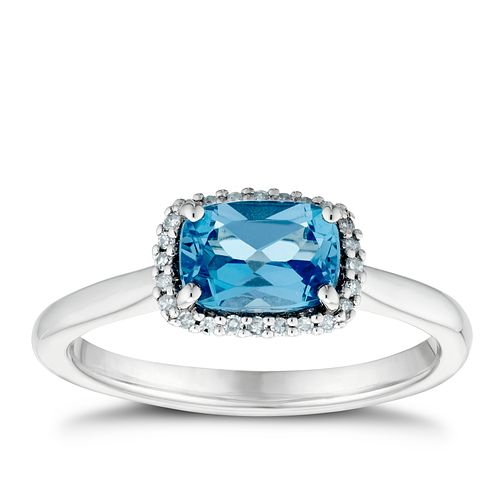 Sterling Silver Swiss Blue Topaz & Diamond Cluster Ring - Product number 3425126