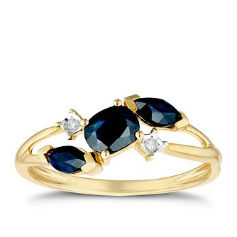 52a63028a 9ct Yellow Gold Black Sapphire & Diamond Ring - Product number 3425401