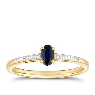 9ct Yellow Gold Oval Black Sapphire & Diamond Ring - Product number 3425762