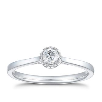 9ct White Gold 1/5ct Diamond Solitaire Ring - Product number 3425835