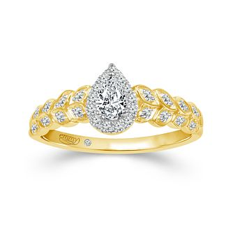 Emmy London 9ct Yellow Gold 1/3ct Diamond Pear Ring - Product number 3426556
