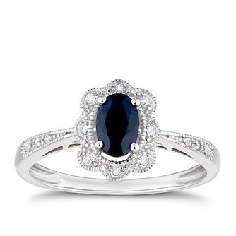 9ct White Gold Fancy Sapphire & Diamond Ring - Product number 3426572