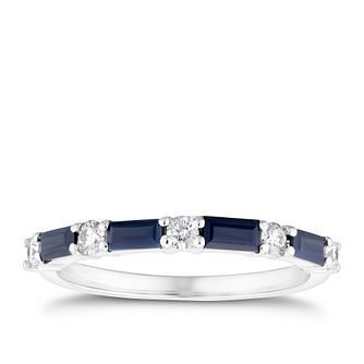 9ct White Gold Baguette Sapphire & 1/5ct Diamond Ring - Product number 3426718