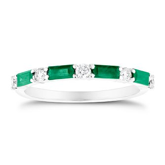 9ct White Gold Baguette Emerald & 1/5ct Diamond Ring - Product number 3426882