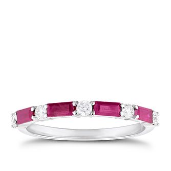 9ct White Gold Baguette Ruby & 1/5ct Diamond Ring - Product number 3427064