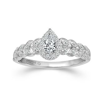 Emmy London 18ct White Gold 1/3ct Diamond Pear Ring - Product number 3427498