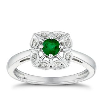 Sterling Silver Flower Emerald & Diamond Ring - Product number 3427900