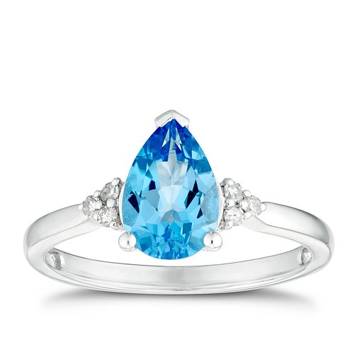 Sterling Silver Pear Swiss Blue Topaz & Diamond Ring - Product number 3428117