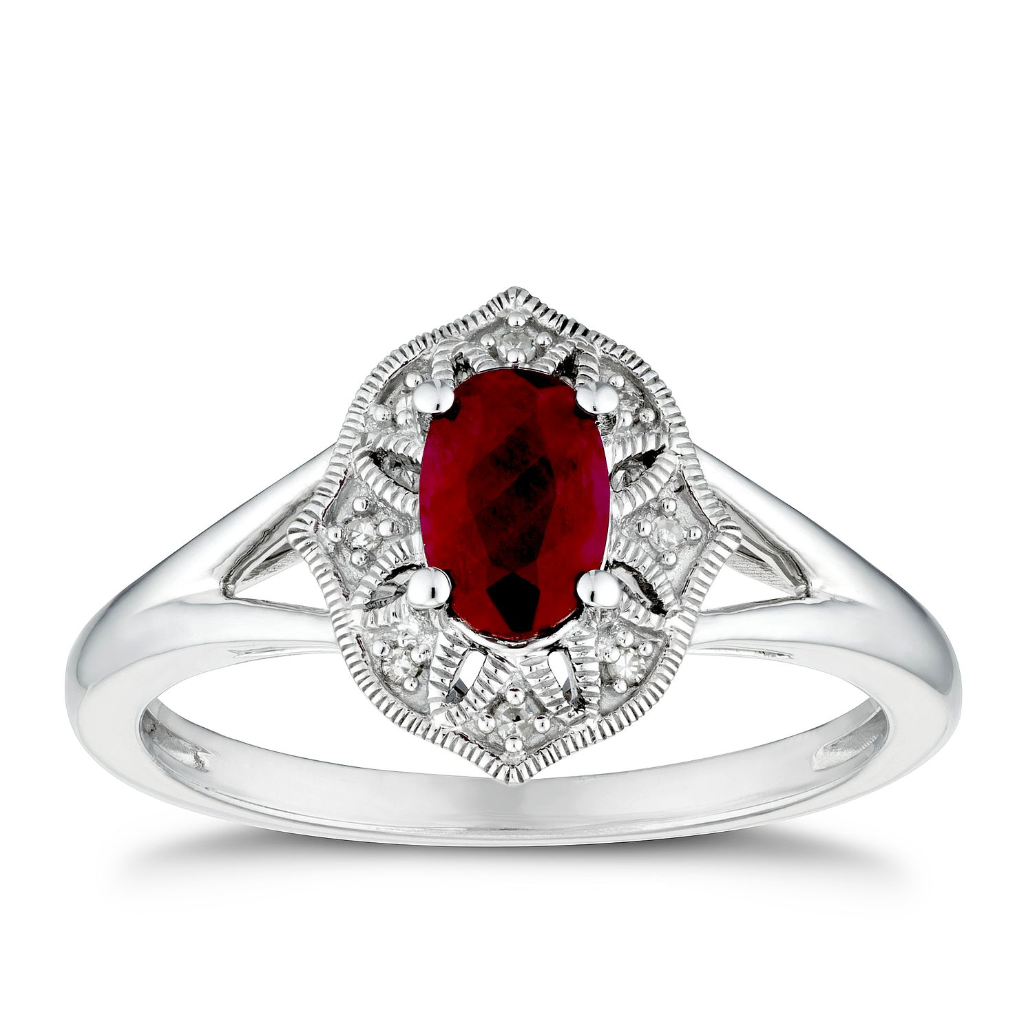 Sterling Silver Ruby & Diamond Ring - Product number 3429105