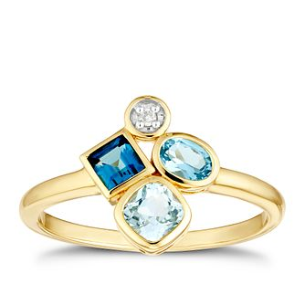 9ct Yellow Gold Fancy Multistone Topaz & Diamond Ring - Product number 3429237