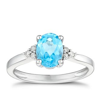 9ct White Gold Oval Swiss Blue Topaz & Diamond Ring - Product number 3429539
