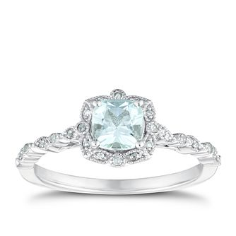 9ct White Gold Fancy Aquamarine & Diamond Ring - Product number 3429695