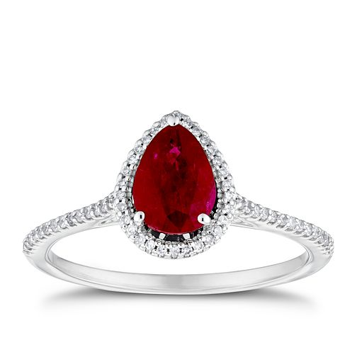 9ct White Gold Pear Ruby & 0.12ct Diamond Halo Ring - Product number 3429911