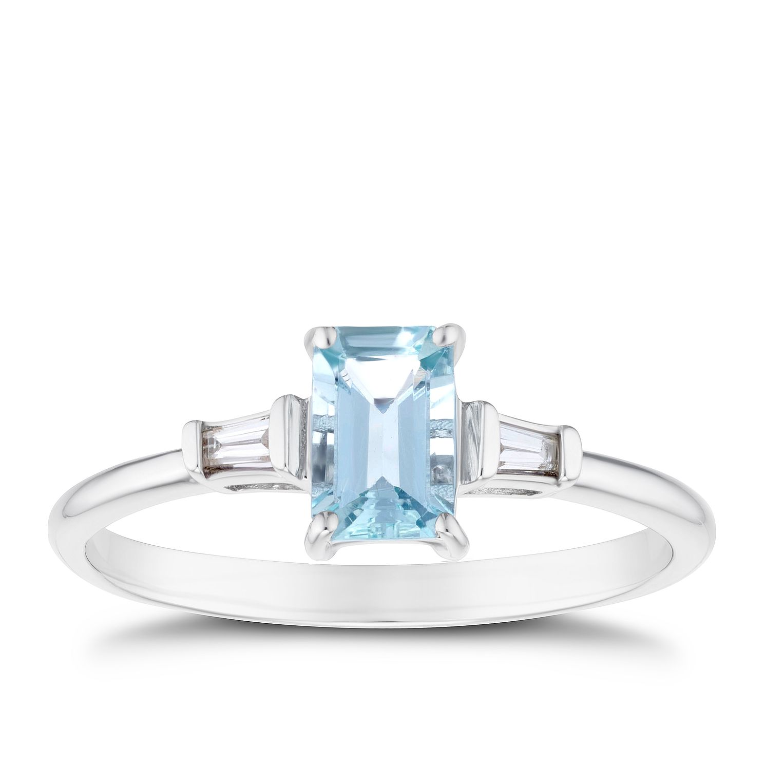 9ct White Gold Aquamarine & Baguette Diamond Ring - Product number 3430049