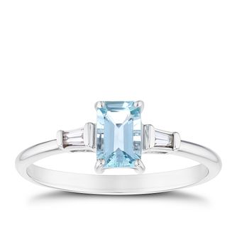 9ct White Gold Oval Aquamarine & Baguette Diamond Ring - Product number 3430049