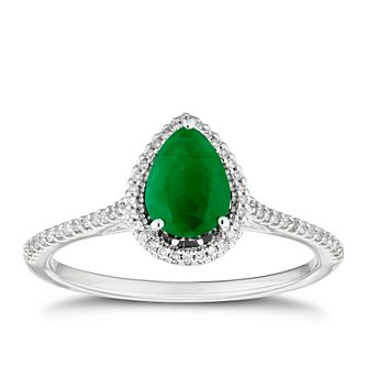 9ct White Gold Pear Emerald & 0.12ct Diamond Halo Ring - Product number 3430197