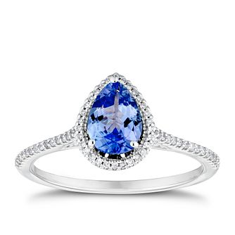 9ct White Gold Pear Tanzanite & 0.12ct Diamond Halo Ring - Product number 3430324