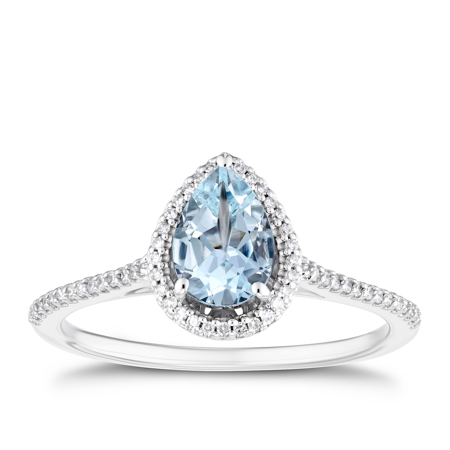9ct White Gold Pear Aquamarine & 0.12ct Diamond Halo Ring - Product number 3430464