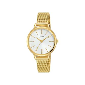 Lorus Ladies' Crystal Dial Gold Tone Mesh Bracelet Watch - Product number 3432351